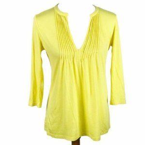 Loft Factory Top Yellow Drape V-Neck 3/4 Sleeve